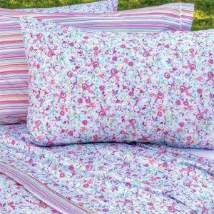 completo letto matrimoniale a fiorellini rosa e azzurri Petit di Riviera