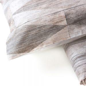 dettaglio copripiumino tortora beige parquet di maè in percalle di cotone