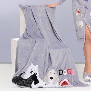 plaid in pile con applicazione cagnolini Dogs Stardust di Casa Anversa