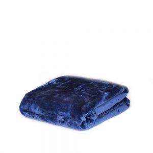 plaid in pile flannel di vallesusa tinta unita blu