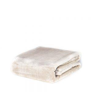 plaid in pile flannel di vallesusa tinta unita beige