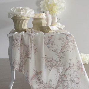 tovaglia con albero in fiore collezione albero della vita di blumarine home in puro lino