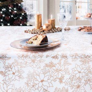 tovaglia natalizia bianca con stelle di natale brillantinate della collezione Bijoux di Vallesusa