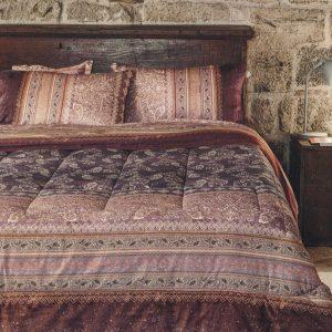 trapunta matera granfoulard bassetti in raso di cotone con disegno damascato rosa antico