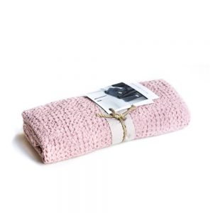 asciugamano nido d'ape rosa petalo memoria somma