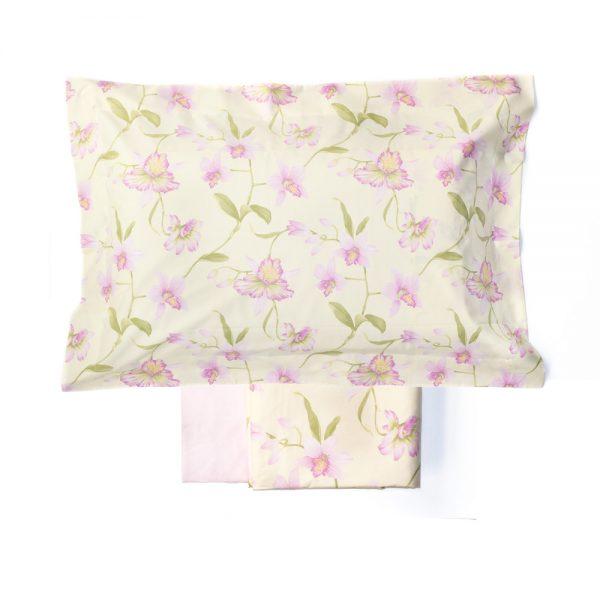 completo copripiumino jennifer di zucchi giallo a fiori rosa