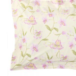 dettaglio completo copripiumino jennifer di zucchi giallo a fiori rosa