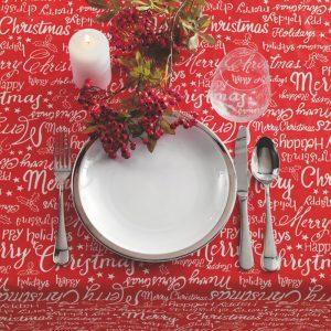 tovaglia natalizia Holiday di Vallesusa rossa con le scritte