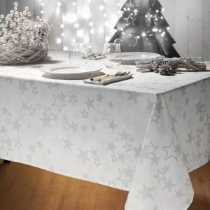 tovaglia natalizia a stelle bianca e argento Etoile di Vallesusa