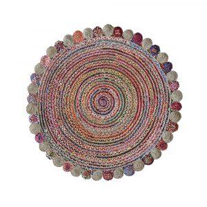 tappeto rotondo multicolor canapa misto cotone Accra di Vivaraise