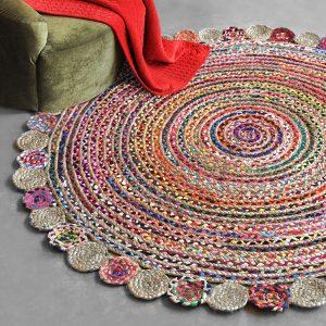 tappeto rotondo multicolor canapa misto cotone Accra di Vivaraise ambientato