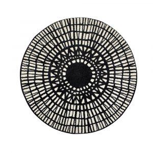 tappeto rotondo bianco e nero moderno Noa di Vivaraise
