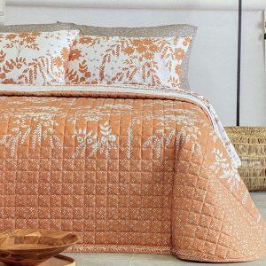 copriletto trapuntato arancione a fiori bianchi Ethnos di Riviera