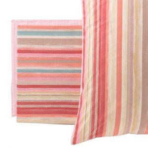 completo lenzuola aurora a righe rosa