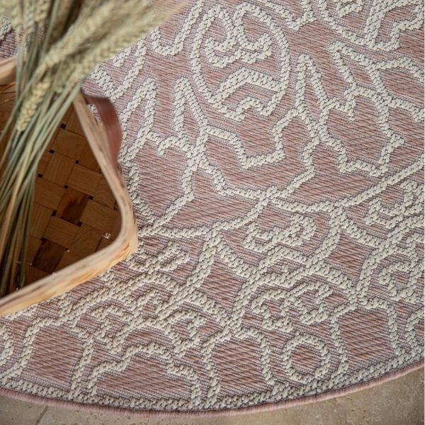 tappeto da esterno rotondo beige adi di vivaraise cipria da sopra