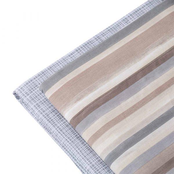 dettaglio completo lenzuola aurora a righe Tortora