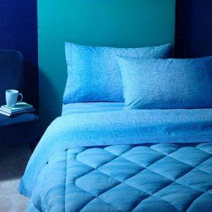 lenzuola una piazza in flanella azzurri Mark di Bassetti