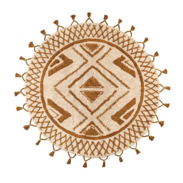 Tappeto rotondo etnico bronzo Sami di Vivaraise