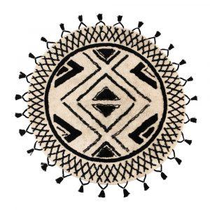 Tappeto etnico rotondo bianco e nero Sami di Vivaraise