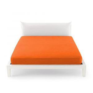 lenzuolo sotto con angoli in percalle Clic Clac Zucchi arancione