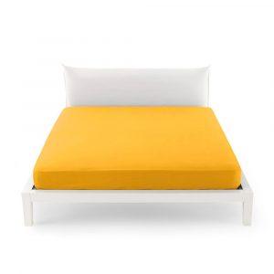 lenzuolo sotto con angoli in percalle Clic Clac Zucchi giallo