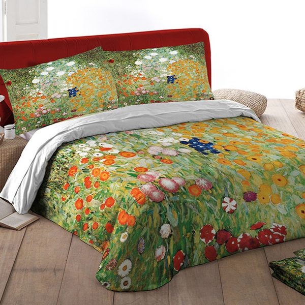 parure lenzuola Giardino in fiore Klimt by Tessitura Randi