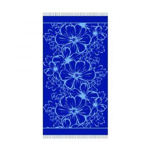telo mare da viaggio in microspugna con fiori Deck di Maè blu