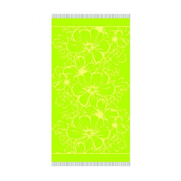 telo mare da viaggio in microspugna con fiori Deck di Maè verde