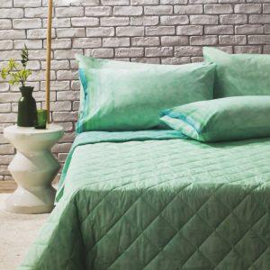 copriletto trapuntato verde Lint di Bassetti