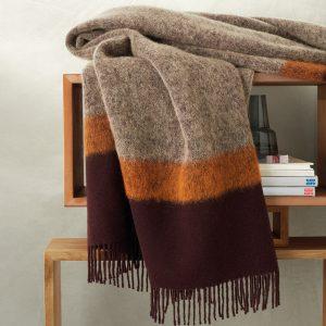 plaid in lana moderno Cosmo di Somma bordeaux e arancione
