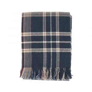 plaid Mudec di Somma scozzese blu e grigio in lana merino