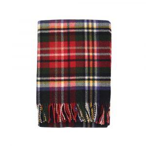plaid scozzese in lana con frange Sky di Somma